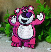 Wholesale Strawberry Iron Patch - Wholesales 10 Pieces~Cartoon Strawberry Bear ( 6 x7 cm) Embroidered Applique Iron On Patch Kids Patch (ALT)