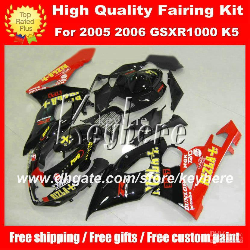 Personalizar ABS kit de carenagem de plástico para SUZUKI GSX-R1000 05 06 GSXR1000 2005 06 K5 carenagem G1e vermelho RIZLA preto aftermarket peças da motocicleta