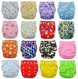 Wholesale Cloth Diapers Without Inserts - New Design Inant Cartton Leopad Cloth Diapers One Size Fits All 10pcs Without Insert Double Row Snap Baby Cloth Diapers 4Group U Choose Free