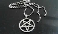 Wholesale 24 Ball Chain Necklaces - Fashion Stainless Steel Silver pentagram satanic symbol Satan worship Pendant Necklace 30mm with 24'' ball chain