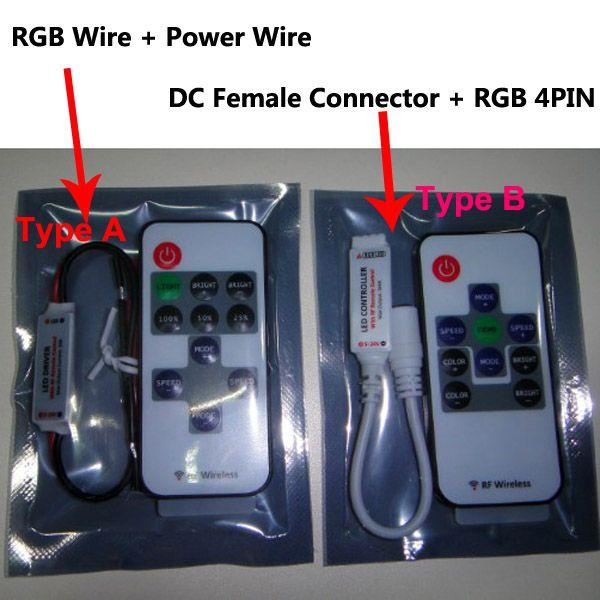 X Slim Mini RF 10Kesy RGB LED fjärrkontroll för 10m RGB 5050 LED Strip 5-24V DC, 144W / 288W Gratis frakt av FedEx