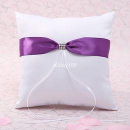 Wholesale Satin Ribbon Supplies - Top quality wedding ring pillow Unique Wedding supplies purple satin design ribbon Ring Pillow for Wedding Ceremony Party