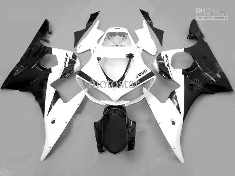 ヤマハR6 2003 2003 2004 2004 2005のためのブラックホワイトABSフェアリング