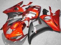 yamaha yzf carenado al por mayor-Kit de carenado negro naranja para Yamaha YZF R6 2003 2004 2005 YZF-R6 03 04 05 YZFR6 600 03-05