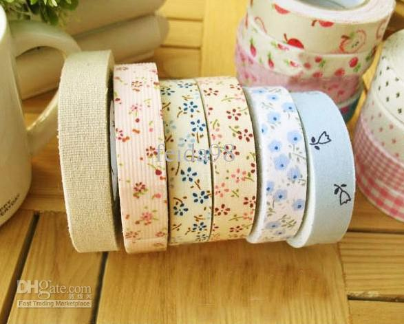 best selling Creative DIY decorative printed cotton tape fabric floral colored tape(100pcs lot)