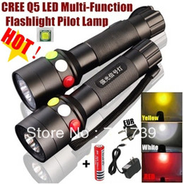 Wholesale Yellow Led Torch - 1set CREE Q5 LED signal light Yellow White Red LED Flashlight Torch Bright light signal lamp +1x18650 Battery   Charger