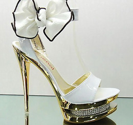 Wholesale Double Platform Pumps - (14cm High) Bows Princess Wedding shoes Crytal Double Platform Super High Heels