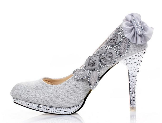 New Vogue Lace Flowers Crystal High Heels Wedding Bridal Shoes Can ...