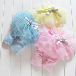 Wholesale Skirts Woolen Short - Summer Baby Girl's TUTU Skirt Short Pants Kids Cute Bow Gauze Cake Middle Leggings Pant Blue Pink Yellow 3 Color 4Pc Lot