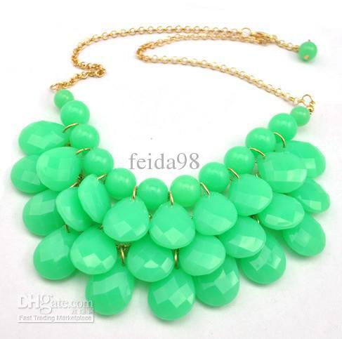 Bib Statement Necklace 5 Colors Chunky Multi Layers Resin Gem Bubble Necklace Cheap Jewelry 5PCS/LOT