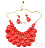 Wholesale Cheap Acrylic Gem Necklace - Bib Statement Necklace 5 Colors Chunky Multi Layers Resin Gem Bubble Necklace Cheap Jewelry 5PCS LOT