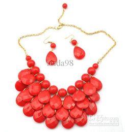 Wholesale Gem Bubble Necklace - Bib Statement Necklace 5 Colors Chunky Multi Layers Resin Gem Bubble Necklace Cheap Jewelry 5PCS LOT