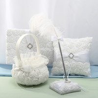 Wholesale White Guest Books - Unique wedding favors white roses feather design Guestbook Pen Set Ring Pillow Flower Basket