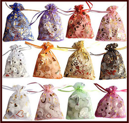 Wholesale Pink Favour Bags - 9 x 12CM Elegant Jewllery Organza Sweet Wedding Party Favour Gift Bags Pouches   gift bags  china products cheap bags 200PCS