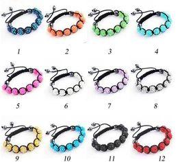 Wholesale Resin Ball Beads - 2017 hot sales designer bracelet 9pcs 10MM*12mm Resin shamballa crystal bracelet disco ball Beads Hematite Bea 100pcs lot