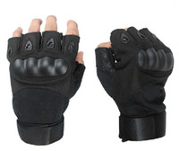 Wholesale Carbon Knuckle Gloves - black carbon fiber knuckle gloves half finger gloves army gloves shell tactical gloves