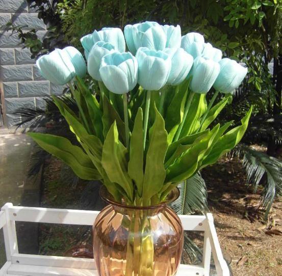 12 stks Kunstmatige PU Tulip Bloem Simulatie Real Touch Tulpen voor Bruiloft Thuis Tafel Kerst Decoratieve bloemen