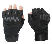 Wholesale Carbon Knuckle Gloves - black carbon fiber knuckle gloves half finger gloves army gloves shell tactical gloves size:M,L,XL