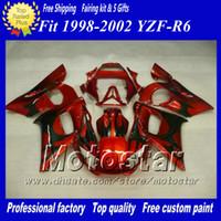 llama roja y negra al por mayor-Kit de carenados para YAMAHA YZF-R6 1998 1999 2000 2001 2002 YZFR6 YZF R6 YZF600 kit de careta de carreras custom black flame red zs17