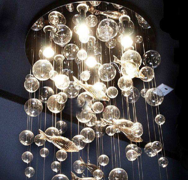 2017 Modern Fashion Deep Sea Fish Glass Bubble Led Ceiling
