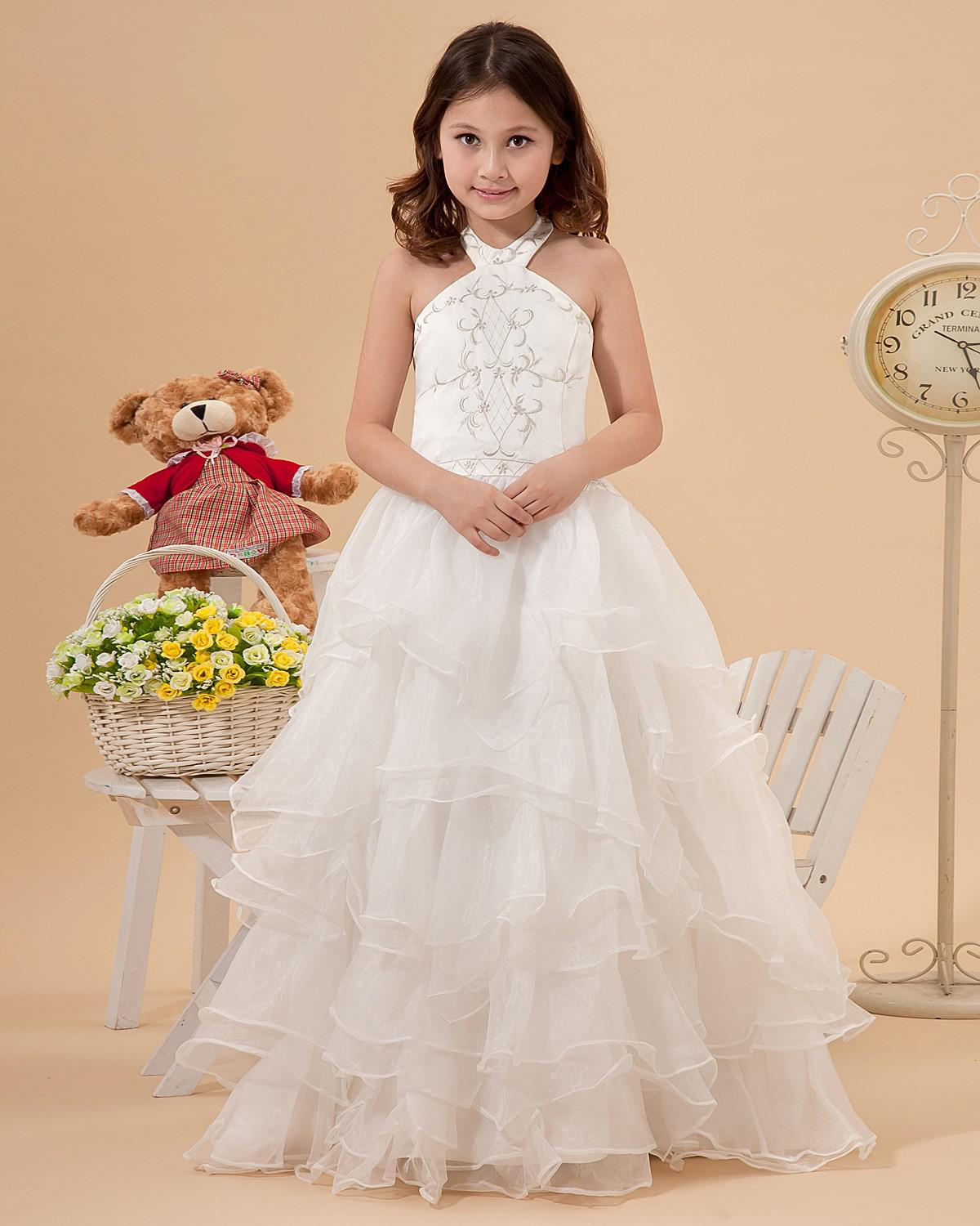 Custom made halter princess flower girl dresses for wedding party embroider pleated tiered organza princess girl dresses for formal occasion
