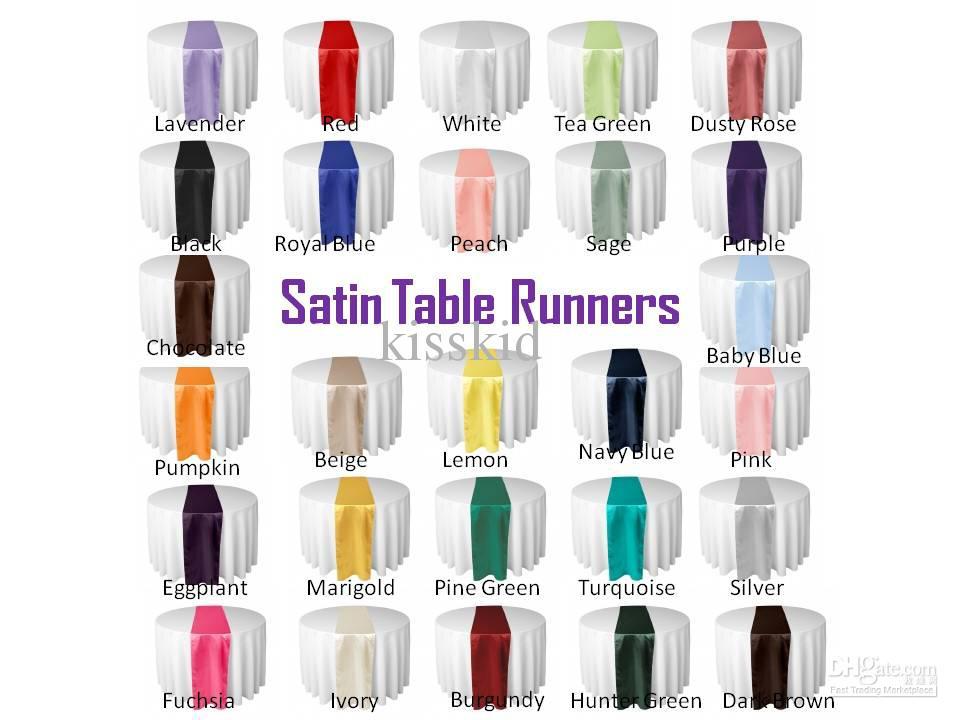 20 Pcs SATIN TABLE RUNNER Or 30cm x 275cm Décorations De Noces Choisissez Couleur NOUVEAU