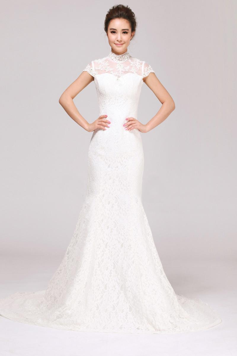 2015 Spring Sheer High Neck Mermaid Wedding Dresses With Cap Sleeve ...