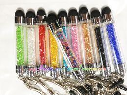 Wholesale Luxury Anti Dust Plug - Bling Diamond Crystal Luxury shiny stone chrome Touch Stylus Pen anti dust plug Jack for iphone 4G 4 4S 5 5S 6 6+ Plus IPAD Air 50pcs 100pcs