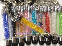 Wholesale Rhinestone Crystal Dust Plug - Bling Diamond Crystal Rhinestone shiny stone chrome Touch Stylus Pen anti dust plug Jack for Apple iphone 4G 4 4S 5 5G ipod IPAD 2 3 10pcs