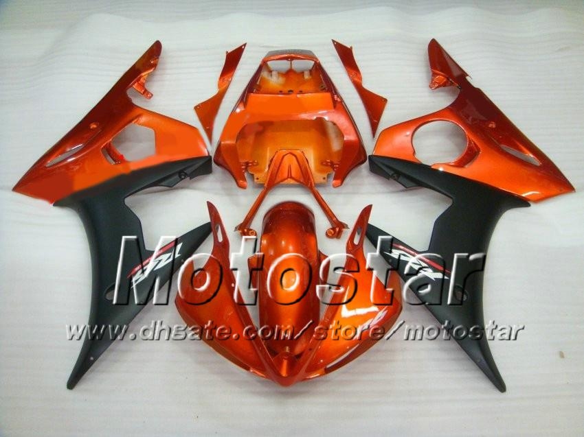 Kit de 5 carénages racing pour YAMAHA 2003 2004 YZF-R6 03 04 YZFR6 YZF R6 YZF600 Kit carénage carénage orange rouge noir zs43