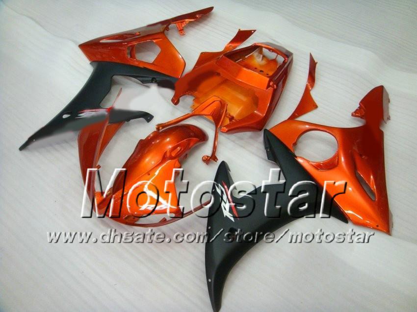 5 regali Kit carenatura da corsa Yamaha 2003 2004 YZF-R6 03 04 YZFR6 YZF R6 YZF600 Arancione Rosso Black Fairing Body Kit ZS43