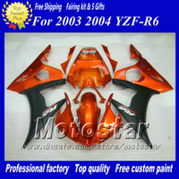 kit carrosserie yamaha r6 achat en gros de-Kit de 5 carénages racing pour YAMAHA 2003 2004 YZF-R6 03 04 YZFR6 YZF R6 YZF600 Kit carénage carénage orange rouge noir zs43