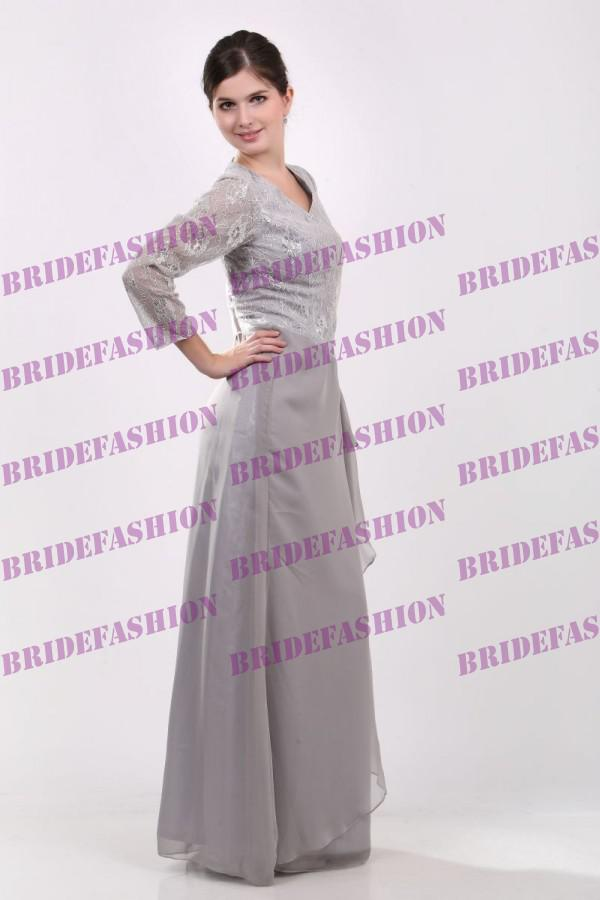 Big Discount!!2013 New Fashion Jewel A-line Sequin Lace Piping Sweep Length Custom Made Chiffon Mother of the bride Dress