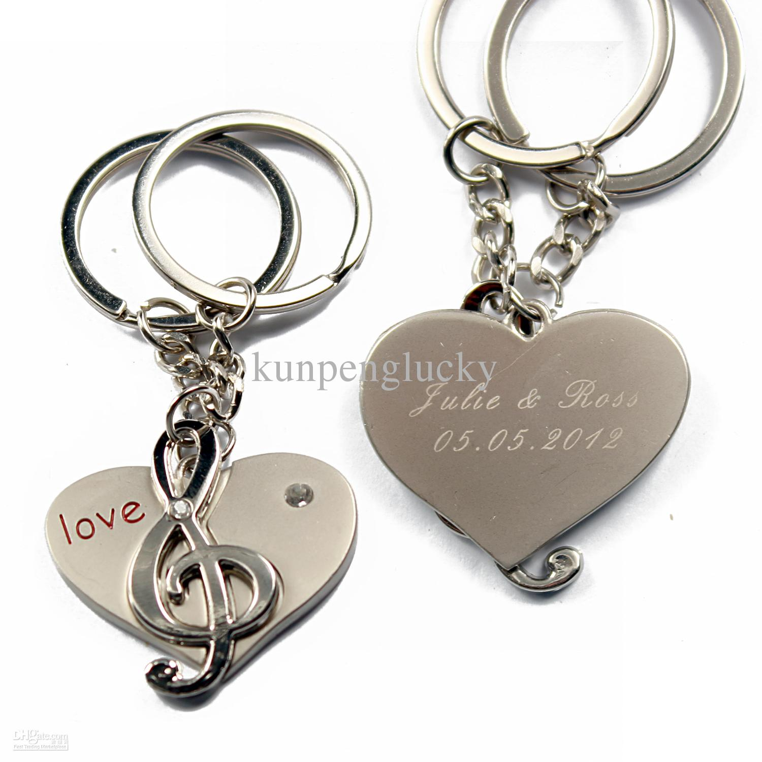 Personalized Keyring Musical Notes Couple Keychain Key Ring Creative ...