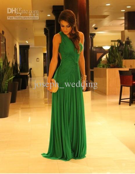 ZED-317 verde esmeralda a linha de um ombro chiffon até o chão vestido de noite formal vestido
