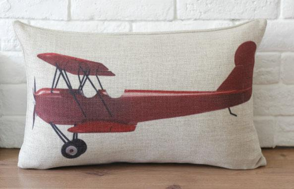 Novelty Gift Red Airplane Helicopter Pattern Linen Cushion Cover Mesmerizing Airplane Decorative Pillow