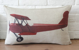 Wholesale Helicopter Case - Free shipping Novelty gift red airplane helicopter pattern linen cushion cover home car decorative throw pillow case