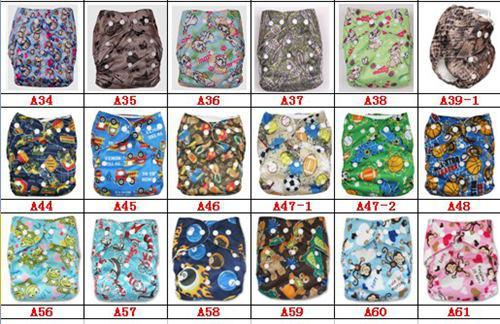 Coloful Stampato Doppia fila di bottoni automatici Leopard Tasche Pannolini Borse pannolini 3 strati Inserti in microfibra = pannolini + inserti