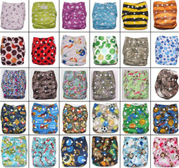 Wholesale Row Bags - Coloful Printed Double Row Of Snaps Infant Leopad Pockets Diapers Nappy Bags & 3Layer Microfiber Inserts 100pc=50pc diapers + 50pc inserts