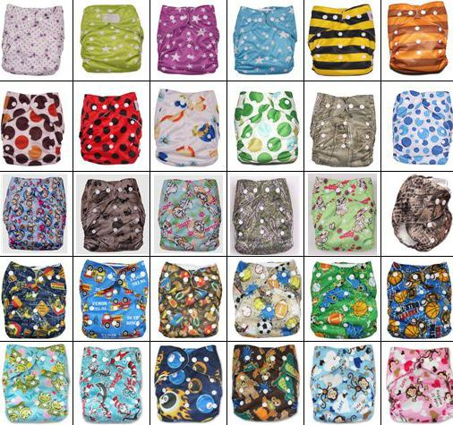 top popular Coloful Printed Double Row Of Snaps Infant Leopad Pockets Diapers Nappy Bags & 3Layer Microfiber Inserts 100pc=50pc diapers + 50pc inserts 2021