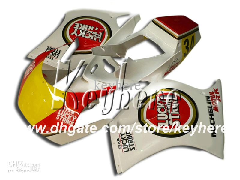 Gratis Custom Race Fairing Kit voor Suzuki RGV250 RGV 250 VJ21 RGVT 250 Red Lucky Strike Yellows G5A Motorcycle Body Work Aftermarket