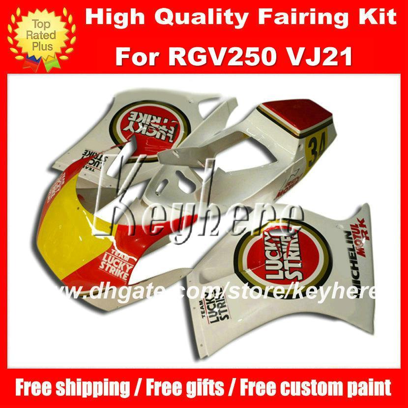 الحرة طقم سباق هدية مخصصة لسوزوكي RGV250 RGV 250 VJ21 RGVT 250 الأحمر محظوظ الضربة الصفراء fairings g5a دراجة نارية هيئة العمل ما بعد البيع
