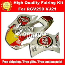 Wholesale Lucky Strike Motorcycle Fairings - Free custom race fairing kit for Suzuki RGV250 RGV 250 VJ21 RGVT 250 red LUCKY STRIKE yellow fairings g5a motorcycle body work aftermarket