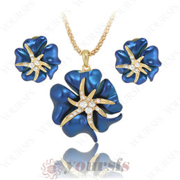 $enCountryForm.capitalKeyWord Canada - Yoursfs Temperament Fashion Wedding Jewelry Set Best Selling 18 K Gold Plated Rhinestone Enamel Rose Flower Earrings& Necklace Jewelry Set