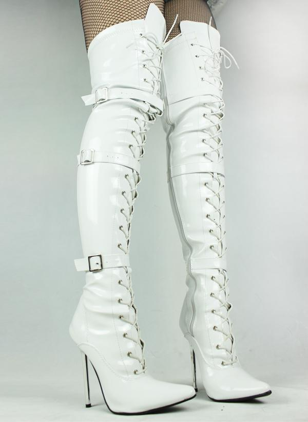 Cheap Thigh High White Pu Boots,Sexy Party Boots 12cm Height Army ...