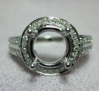Wholesale Semi Mount Ring Round Cut - 9MM Round Cut Real 18k Gold White Engagement Diamond Wedding Semi mount Ring N012