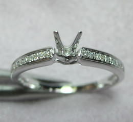 Wholesale Diamond Semi Mount Rings 6mm - Jewelry Sets Round 6mm 14kt White Gold Diamond Engagement Semi mount Ring N017