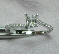 Wholesale Diamond Semi Mount Rings 6mm - Jewelry Sets Round 6mm 14kt White Gold Diamond Engagement Semi mount Ring N019