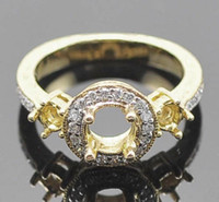 Wholesale Three Ring Gold Mounting - Three Stones Solid 14Kt Yellow Gold Diamond Semi Mount Engagement Ring