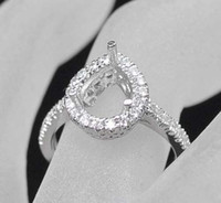 Wholesale Setting Semi Ring Mount - New Pear 8x12mm Solid 14kt White Gold Diamond Semi mount Wedding Ring